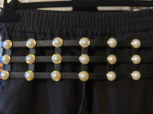 High Waist Black Cage Belt with Pearls