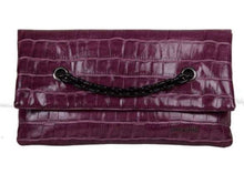 Load image into Gallery viewer, Cerise Pink Faux Croc Clutch Bag