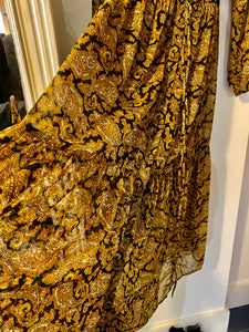 Mustard, Gold & Black Paisley Print Maxi Dress