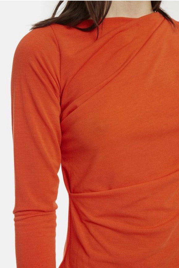 Orange Draped Boat Neck Top