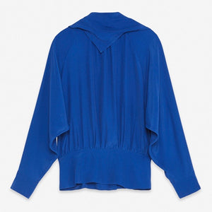 Azure Blue Silk Open Back Top