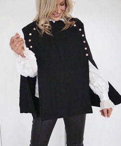 Black Cape with Gold stud buttons
