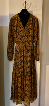 Load image into Gallery viewer, Mustard, Gold & Black Paisley Print Maxi Dress