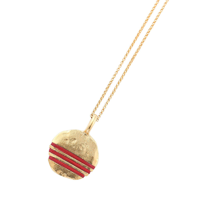 Full-Circle Necklace Necklace Thousand Fibres 18ct Gold Vermeil ruby-red