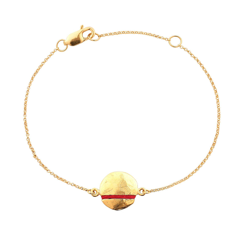 Mini Full-Circle Bracelet Bracelet Thousand Fibres 18ct Gold Vermeil ruby-red