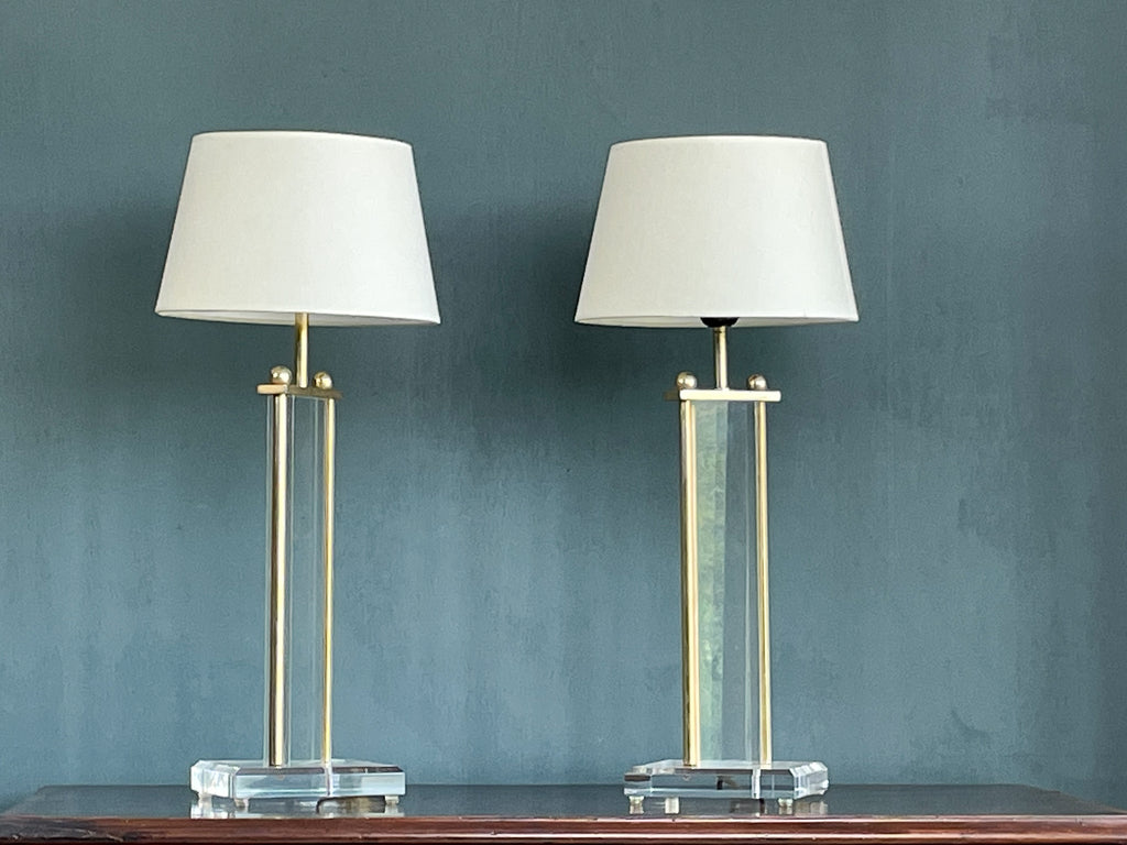 A Pair of 1960's Lucite and Brass Lamps