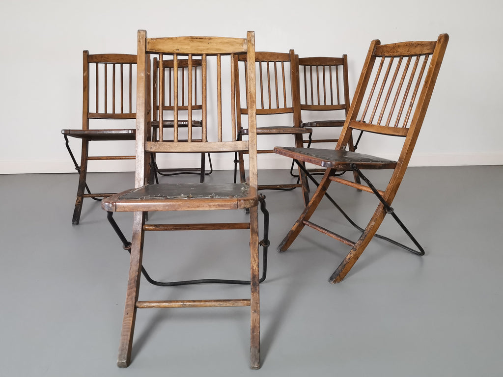 A Set of Six 1920's Folding Chapel Chairs