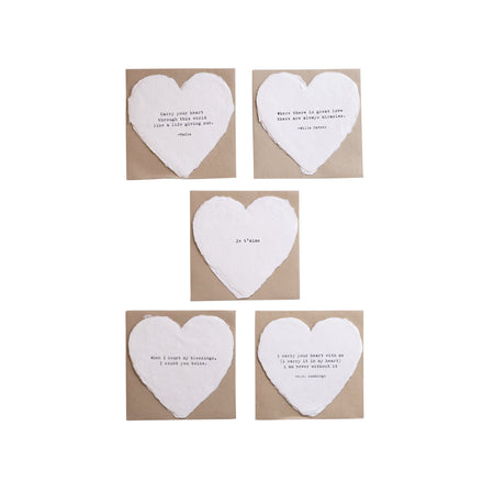 Deckled Heart Cards - Printed on deckled handmade paper, these charming enclosure cards feature sentimental quotes.