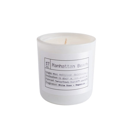Flores Lane - Manhattan Beach Candle Scent: White Rose + Magnolia Made of all natural soy wax and essential oils