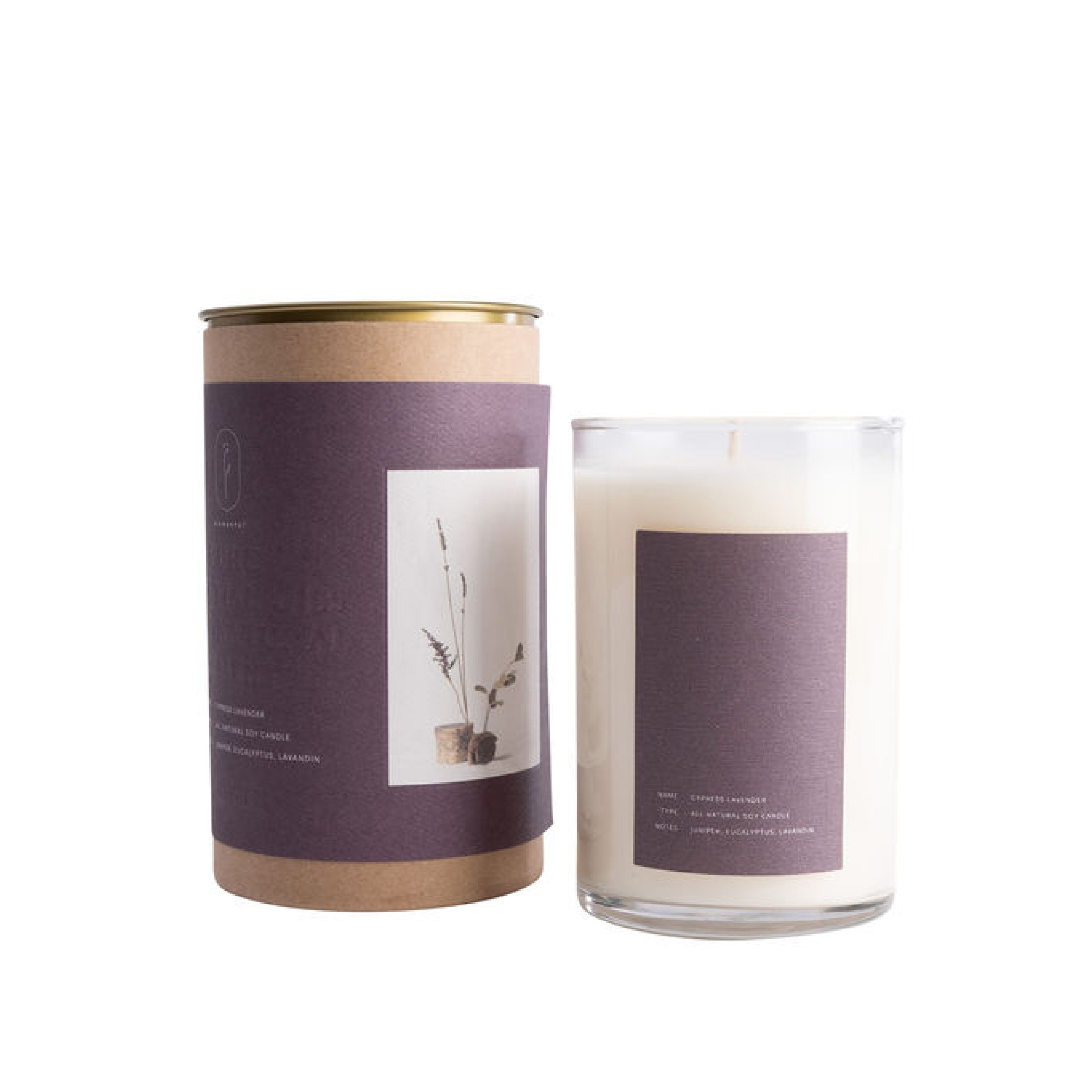 Elemental - Lavender + Cypress Candle Soy wax infused with essential oils