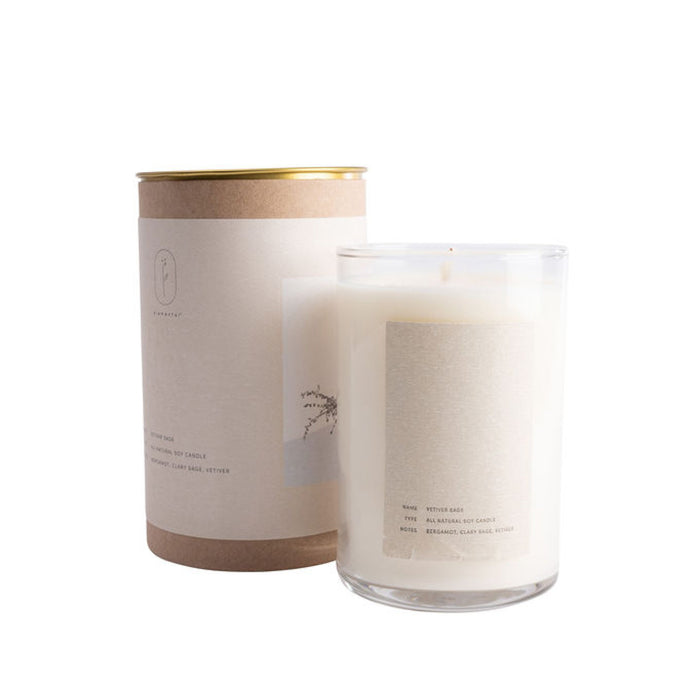 Elemental - Vetiver + Sage Candle Soy wax infused with essential oils