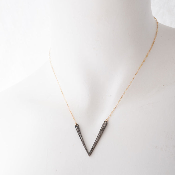 Mixed Metal V Necklace