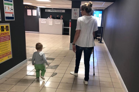 Travelling on Crutches with a Toddler