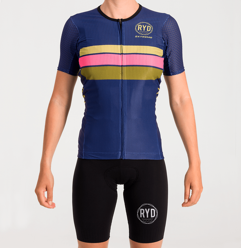 CYCLING JERSEY EXTREME NAVY GOLD STRIPES