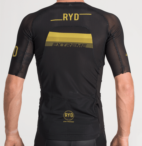 TRIATHLON JERSEY EXTREME BLACK GOLD STRIPES