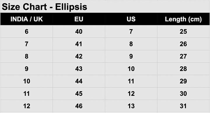 Flatheads Ellipsis shoes size chart