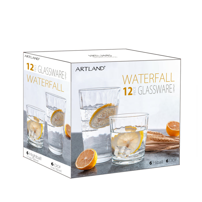 Artland Glassware Set of 12, Waterfall