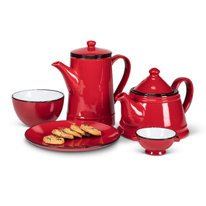 Abbott Enamel Look Teapot Red