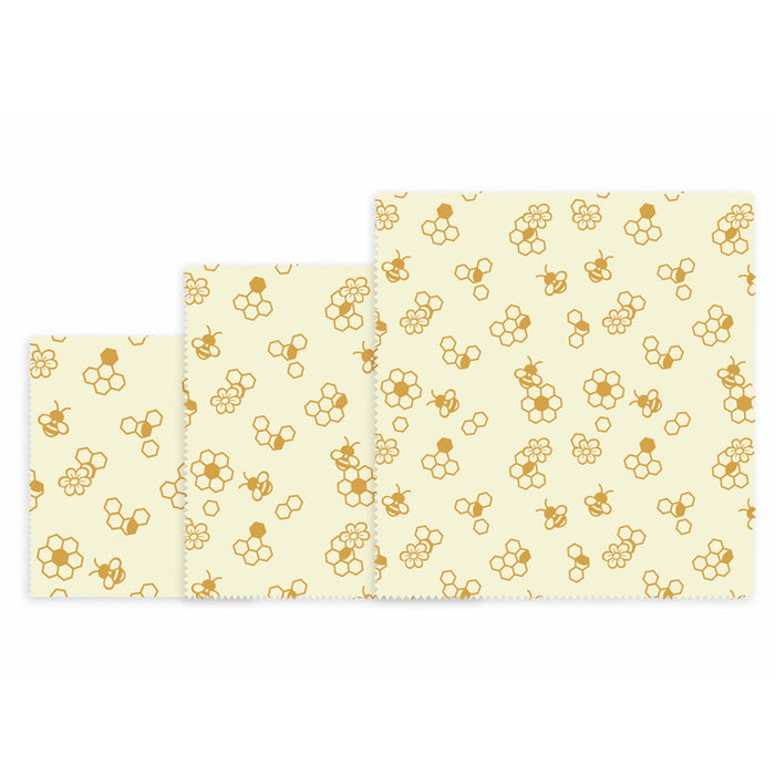 Danesco Beeswax Food Wraps 3pk, Honey Bees Pattern