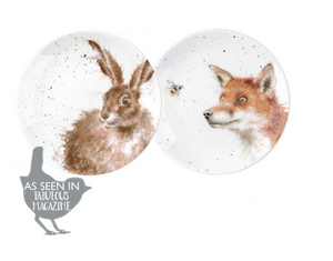 "Wrendale Coupe Plates Set/2 6.5"" Fox and the Hare"