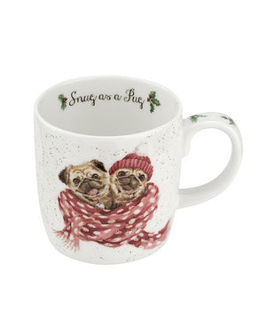 "Wrendale Mug 11oz Dog ""Snug as a Pug"""