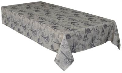 "Texstyles Deco Tablecloth 58"" x 108"" - Paris Charcoal"
