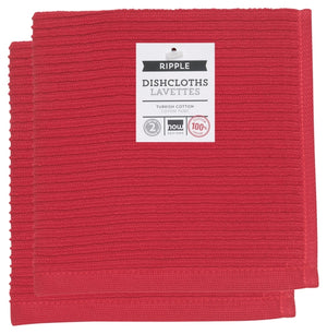 Now Designs Ripple Dishcloth Set of 2, Red