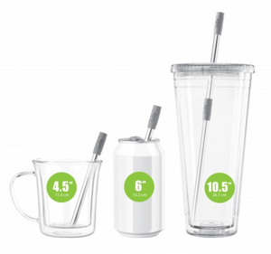 Final Touch GoSip Stainless Steel Straw Set - Grey