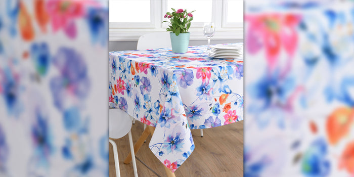 "Texstyles Deco Tablecloth 58"" x 78"", Watercolour Floral Multi"