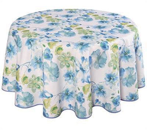 "Texstyles Deco Tablecloth 58"" x 94"" - Watercolour Floral Blue"