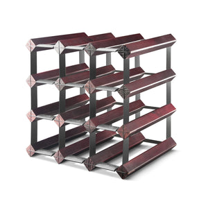 Final Touch Assembled 12 Bottle Wine Rack, Cherry Finish