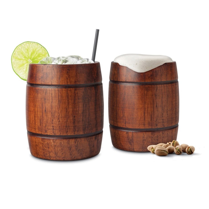 Final Touch Wood Barrel Tumblers Set of 2