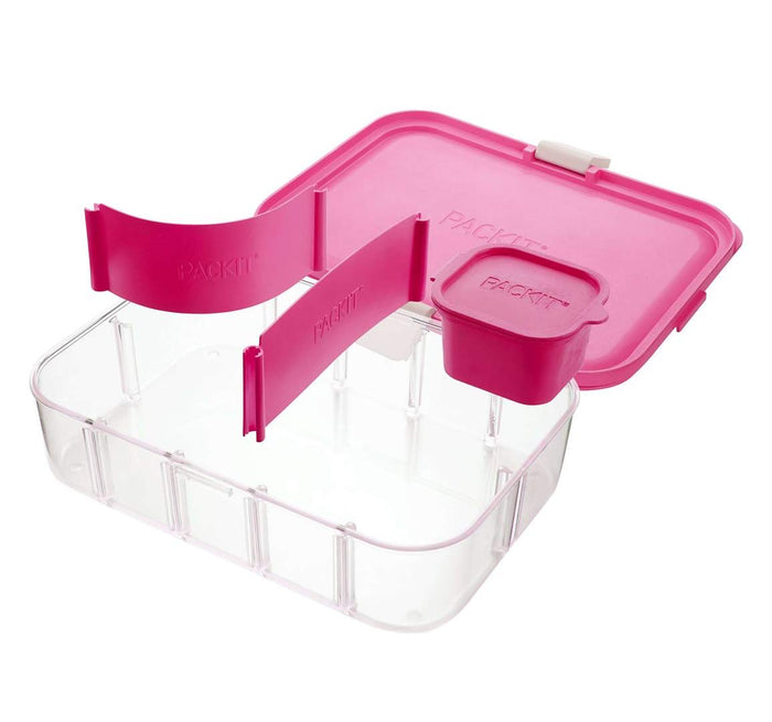 PACKIT Flex Bento Lunch Container, Ripe Raspberry