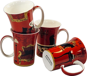 McIntosh Mug Set/4 Mystical Cats
