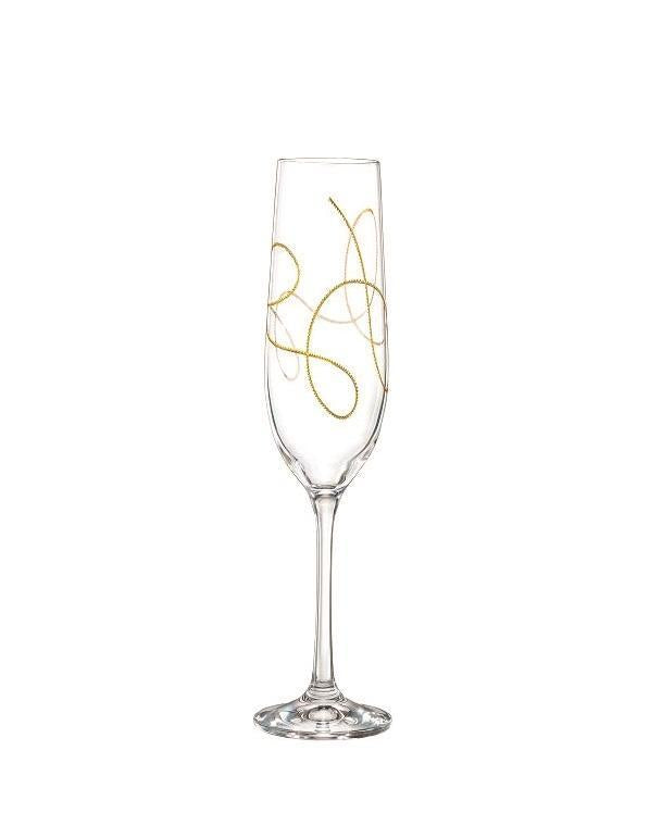 Bohemia Crystal String Champagne Glass, Gold