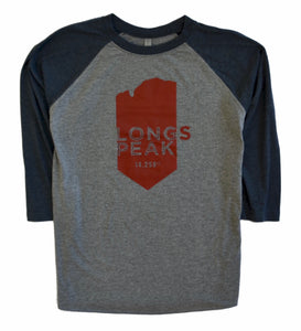 Longs Peak Shirt Woman's 3/4 Sleeve Raglan Tri-Blend