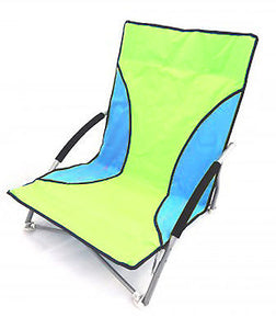 Green/Blue Folding Beach Chair With Foam Arms