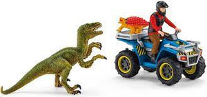 41466 Schleich Quad Escape from Velociraptor Set Dinosaurs Figure Plastic