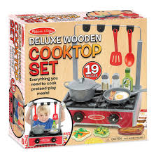 Melissa and Doug Deluxe Wooden Cooktop Set