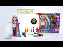Load and play video in Gallery viewer, ‎ Rainbow High Hair Studio Exclusive Doll with Rainbow Hair &  Washable Hair Colour