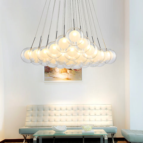 Image of Modern LED Glass Ball Hanging Chandelier