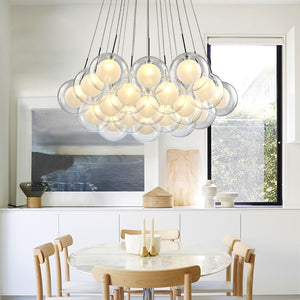 Modern LED Glass Ball Hanging Chandelier