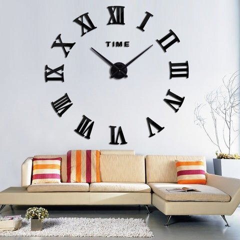 Home Decor Large Roman Mirror Fashion Modern Quartz Clock