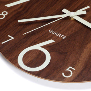 Hot-Luminous Wall Clock 12 Inch Wooden Silent Non-Ticking Wall Clock With Night Lights