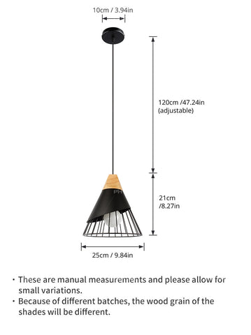 Image of Wooden Base Iron Cage Hanging Nordic Lamp