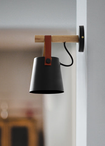 Image of Wooden Lantern Nordic Hanging Wall Lamp