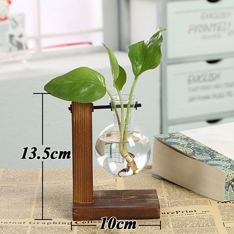 Image of Terrarium Creative Hydroponic Plant Transparent Vase Wooden Frame Vase Decoratio Glass Tabletop Plant Bonsai Decor Flower Vase