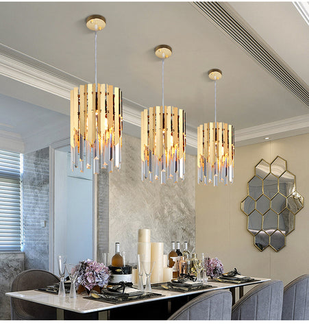 Image of Gold Crystal Kitchen Pendant Hanging Lights