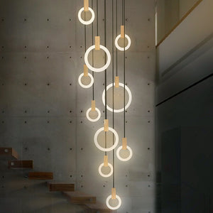 Modern LED Wall Stair Ring Chandelier