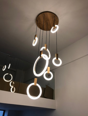 Image of Modern LED Wall Stair Ring Chandelier